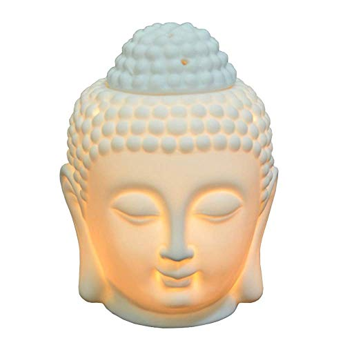 Ruilasago Buddha Head Candle Oil Burner, Ceramic Translucent Statue Hollow Essential Oil Burner Aromatherapy Diffuser Furnace Tealight Candle Holders for Yoga Meditation Room Home Decor (White)