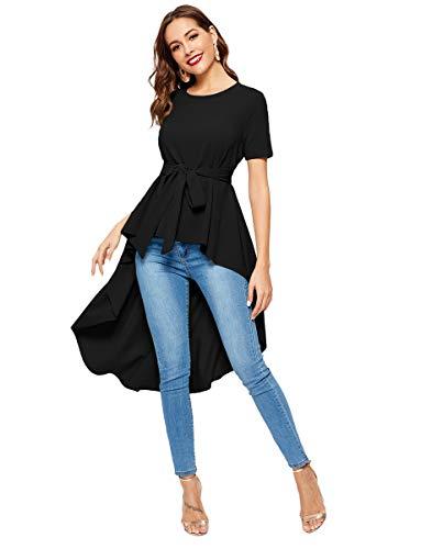 Romwe Women's Irregular Hem Short Sleeve Belted Flare Peplum Ruffle Blouse Shirts Top Black XL