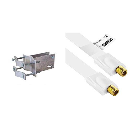 TechniSat An-Rohr-Fitting (zur Befestigung an Mast oder Rohr für Digidish 33/45 / Satman 33/45) & mumbi 26cm Fensterdurchführung für SAT Kabel (F-Kupplung auf F-Kupplung) extrem flach, weiß