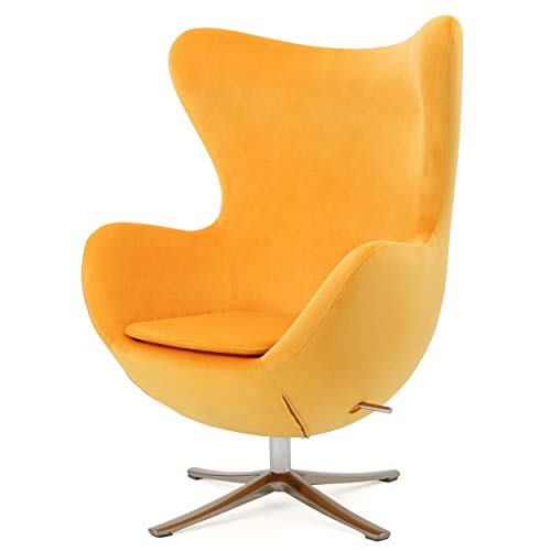 Christopher Knight Home Glendon Arne Jacobsen Style New Velvet Swivel Contour Egg Chair, Orange