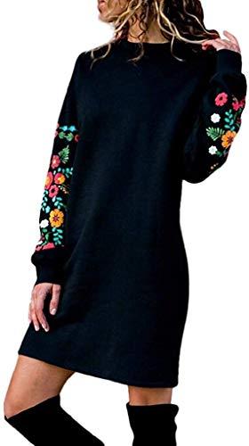 Sccarlettly Damen Pullover Herbst Winter Longshirt Casual Chic Kleider Strickkleid Locker Kleid Elegant Langarm Minikleid Party Kleid Warm Sweatshirt Langes Sportkleid Pakethüfte Feinstrickkleid