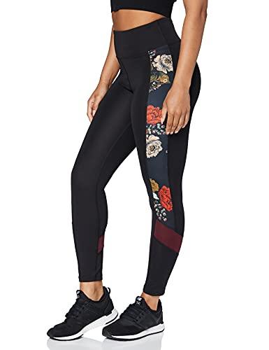 AURIQUE Leggings Deportivos Cortos para Mujer Mallas de Entrenamiento, Negro/Rojo Sangre De Buey, 38