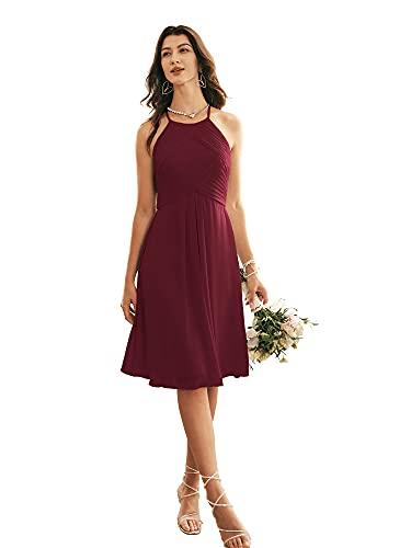 Alicepub Halter Chiffon Bridesmaid Dress Short Cocktail Formal Dresses for Women Party, Burgundy, US12