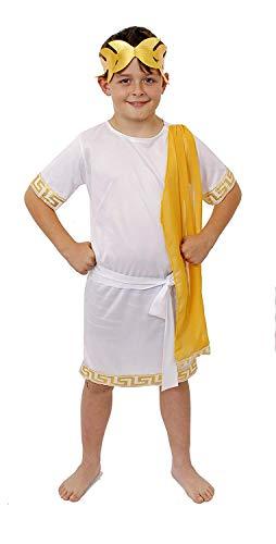 Déguisement tunique romaine pour garçon avec écharpe, ceinture et coiffe dorée – Dieu romain/dieu grec – Parfait pour Halloween et déguisement historique – Taille : S 5–7 ans