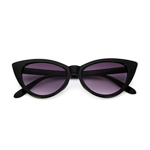 RHNE Gafas de Sol Vintage con Forma de Ojo de Gato para Mujer, Montura de PC, Lente de Resina, Gafas Uv400, Negro Brillante y Gris Doble Grande