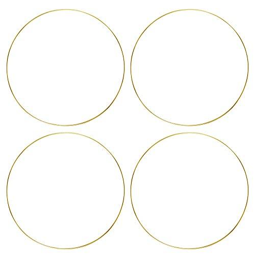 Sntieecr 4 Stück 30cm Gold Metallring Floral Hoops Ringe Kranz Makramee Ringe für Floral Hoop...