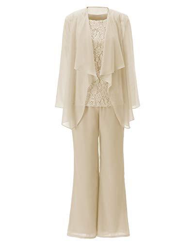 Fitty Lell Women's Elegant Chiffon Mother of The Bride Dress Plus Size 3-Piece Pant Suit Set(US20 Plus,Champagne) (Apparel)