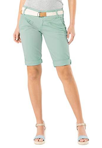 Fresh Made Damen Bermuda-Shorts in Pastellfarben mit Gürtel Light-Turquoise M