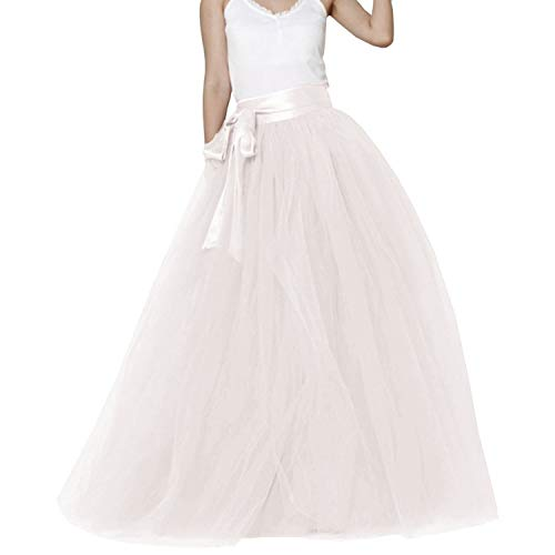 Women Wedding Long Maxi Puffy 5 LayersTulle Skirt Floor Length A Line with Bowknot Belt High Waisted for Wedding Party Evening (Ivory, White Plus Size,US16-26W)