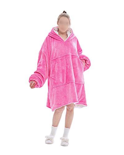 Übergroßes Flanell Fleece Hoodie Sweatshirt Decke Warme Riesen Kapuzenpullover Decke Wearable Decke Flauschig Plüsch Pullover TV Decke mit Kapuze Lässige Homewear Erwachsene Roserot Einheitsgröße