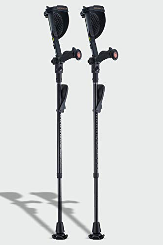 Carbon Fiber Crutches- Ergobaum Prime Black Mamba Forearm Crutches (1 Pair)- 5'1'' to 6'6'' Adjustable