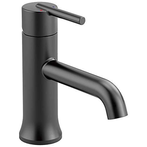 Delta Faucet Trinsic Matte Black Bathroom Faucet, Single Hole Bathroom Faucet, Single Handle Bathroom Faucet, Matte Black 559LF-BLLPU