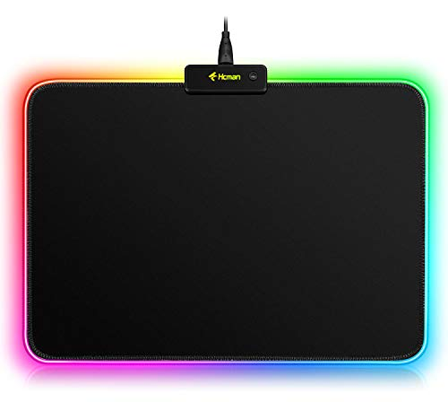 RGB Gaming Mouse Pad Mat - 340×245×3mm Hcman Led Mousepad with Non-Slip Rubber Base, Soft Computer Keyboard Mouse Pad for MacBook, PC, Laptop, Desk