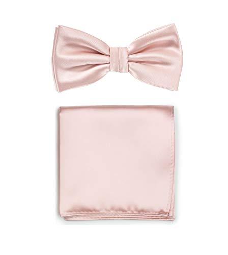 PUCCINI Uni Fliegen Set mit Einstecktuch│einfarbiges Set mit Herrenfliege (Fliege, Bow Tie) und Einstecktuch in: Rosa (Hellrosa)