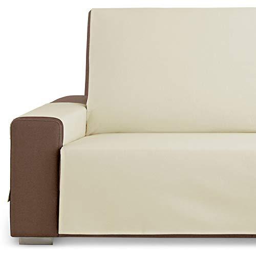 Vipalia Protector Funda Sofa. Cubresofa. Loneta Lisa. Reversible Comodo Practico Resistente Limpio. Algodón Ecologico. Facil Montaje. Calidad Diseño Royale. Color Beige. 4 Plazas