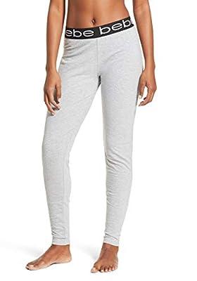 bebe Womens Jogger Lounge Sleep Pajama Pants Heather Grey Large