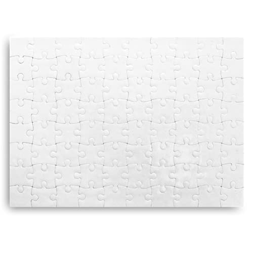 Kopierladen Karnath GmbH Puzzle weiß individuell gestalten und bemalen, leeres Puzzle mit glänzender Oberfläche, 80 Teile, 200 x 145 mm, Premium Qualität