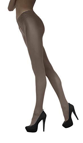 Marilyn blickdichte Hüftstrumpfhose mit 9 cm Spitze, 100 Denier, Größe 40/42 (M/L) - 1 Paar, Farbe Braun (latte)
