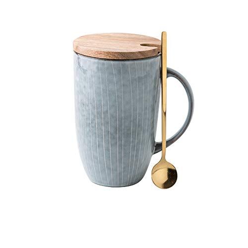 Rghfn Creativa de gran capacidad de taza de agua de estilo japonés de rayas marca de la taza literaria retro taza grande de café de cerámica adecuados for Especialidad café, capuchino, moka y té, lech