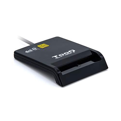 TooQ TQR-210B - Externes Lesegerät für elektronische DNI und Smartcards (DNIe), USB 2.0, Schwarzweiß, 480 Mbit/s