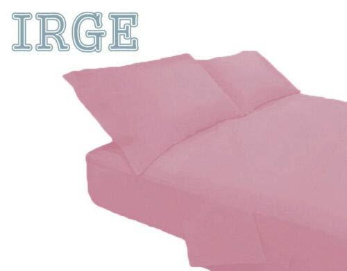 Irge Lenzuola Cotone Puro 100% Matrimoniale Tinta Unita sotto sopra 2 FEDERE Vari Colori (Rosa Antico)