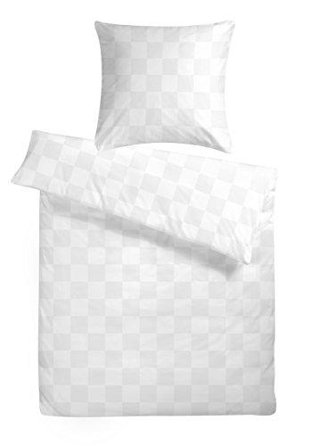 Carpe Sonno Damast Luxus Bettwäsche 155 x 220 cm Weiß - Exklusive Hotelbettwäsche aus 100% feinster Baumwolle mit Damast-Karo und Reißverschluss - Hotel Bettgarnitur Set Kopfkissenbezug 80 x 80 cm