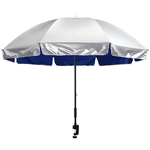 G4Free - Ombrello con morsetto universale regolabile UPF 50+, protezione dai raggi UV, per passeggini, sedie a rotelle, sedie a rotelle, sedie a sdraio e carrelli da golf