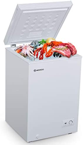 MOOSOO Chest Freezer 3 5 Cubic Feet with Removable Storage Basket Deep Freezer 7 Gears Temperature product image