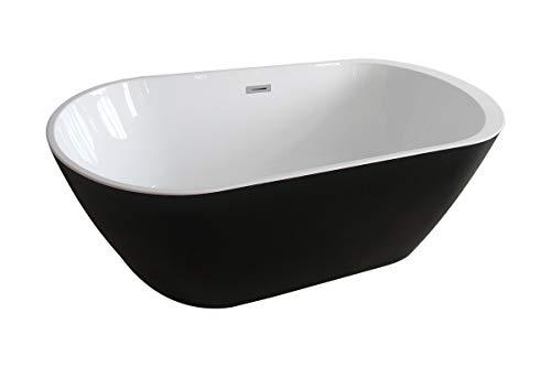 Home Deluxe - freistehende Badewanne - Design Badewanne freistehend Codo schwarz - Maße: ca. 170 x 80 x 58 cm - Füllmenge: 204 Liter - Inkl. komplettem Zubehör…
