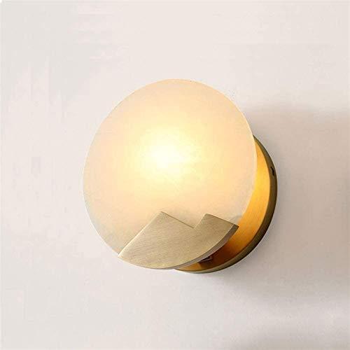 Aplique de pared industrial LED, Cuarto de baño moderno Vanity Wall Sconce Iluminación satinada Brasa Lámpara de pared Redonda de mármol Sombra interior Círculo de diseño de noche de pared de pared de