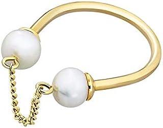 خاتم ميساكي النحاسي المطلي بالذهب بتصميم مرصع باللؤلؤ للنساء - 17.2 ملم، QCRRCERCLEGOLD