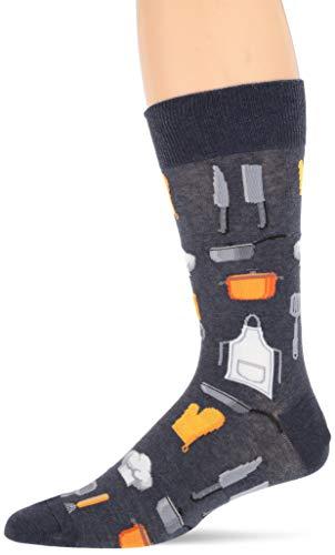 Hot Sox Men's Novelty Occupation Casual Crew Socks, Chef (Denim Heather), Shoe Size: 6-12