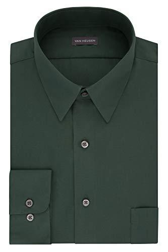 "Van Heusen Men's Dress Shirt Fitted Poplin Solid, Dark Leaf, 15.5"" Neck 32""-33"" Sleeve"