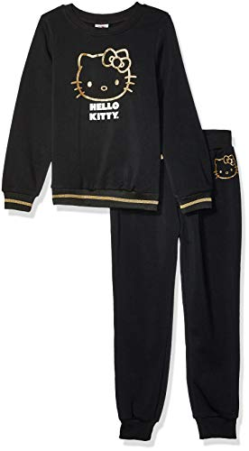 Hello Kitty Toddler Girls 2 Piece Sweatshirt and Pant Active Set, Black, 3T