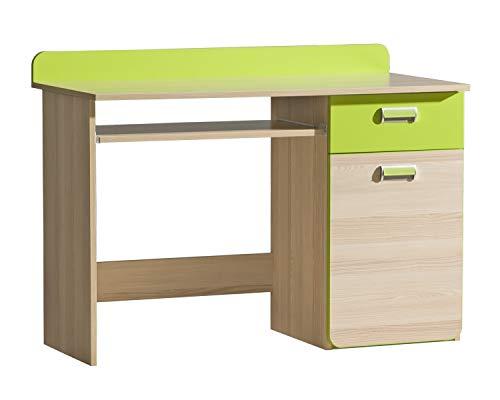 Furniture24 Schreibtisch LORENTO L10 mit Tastaturablage und Schublade Schülerschreibtisch Kinderschreibtisch Computertisch PC-Tisch (Esche Coimbra/Lime Grün)