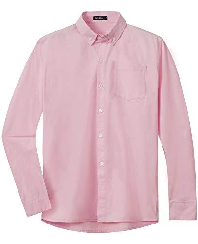 Spring & Gege Jungen Einfarbiges Hemd mit Knopfkragen Lässige Schuluniform für Kinder aus Baumwolle Rosa 152 158