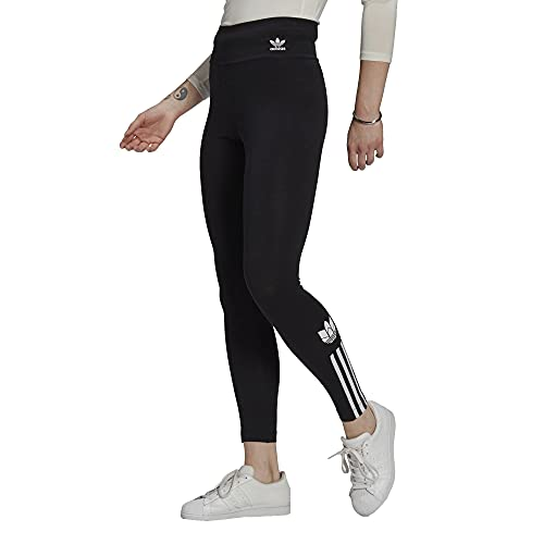 adidas Adicolor 3D Trefoil High Waist Leggings Tights (38, Black)