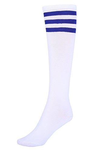 Women's White Knee High Striped Socks with Three Blue Stripes