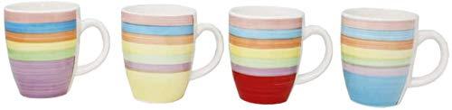 DRULINE 4er Set Kaffeetasse Kaffeepott Kaffeebecher Tassen Bürotasse Trinkbecher Becherset Mehrfarbig Kaffee Tee Milch Kakao Keramik Becher ca.400 ml (Ø x H) ca. 8,5 x 10 cm (Kaffeebecher BUNT)