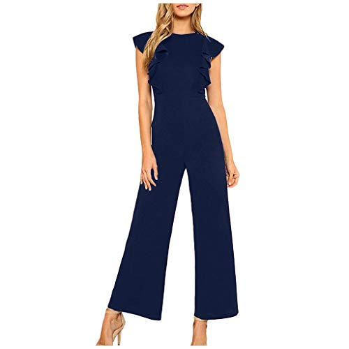 Dasongff Damen Jumpsuit Elegant Lang Weites Bein Hohe Taille Fly Sleeve Overalls mit Volant O-Ausschnitt Playsuit Hosenanzug Romper Sommer Party Abendmode