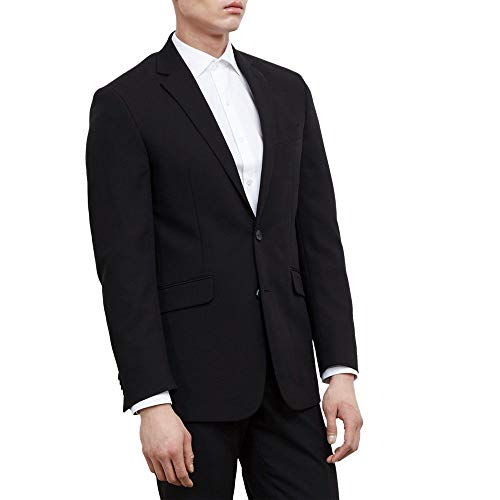 Kenneth Cole REACTION Men's Slim Fit Suit Separate Blazer (Blazer, Pant, and Vest), Black, 36 Short