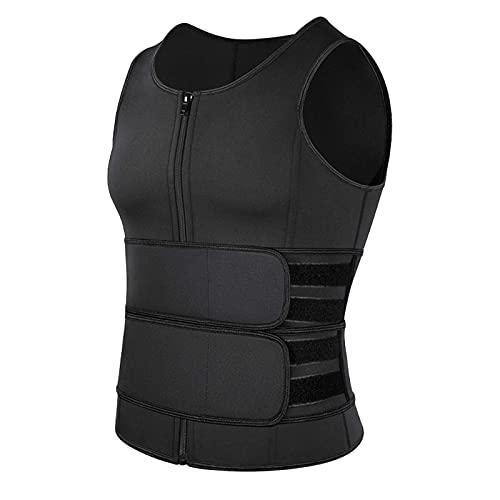 ZGKJ Traje De Sauna para Hombre Chaleco De Sudor Camiseta Sin Mangas Camiseta De Neopreno Body Shaper Cintura Entrenador (Color : Black, Size : 3XL)