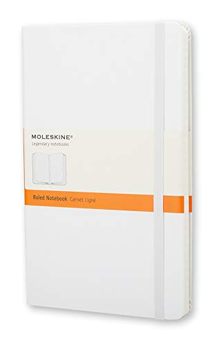 Moleskine Classic Notebook, Hard Cover, Large (5' x 8.25') Ruled/Lined, White, 240 Pages