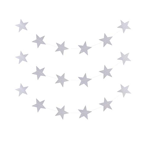 PRETYZOOM 3pcs Star Garland Silver Gray Five-pointed Star Paper String Decor 4m Long for Wedding Birthday Party