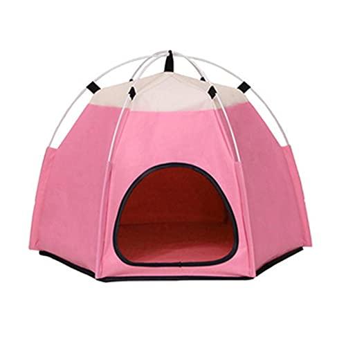 QiHaoHeji Tipi de Mascotas Cat Teepee TENTE Cable Camas para Gatos Interiores PEQUEÑA Caza Cable Cava Plegar Pet Pet Tepee Tienda para Gatos (Color : Pink, Size : 60X50X46CM)