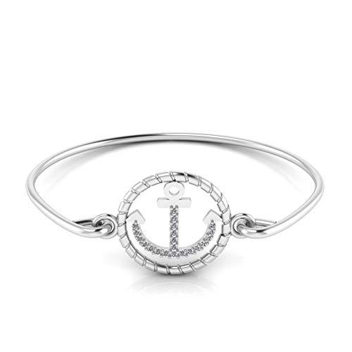 Jbr - Pulsera de plata de ley con diseño de ancla para mujer