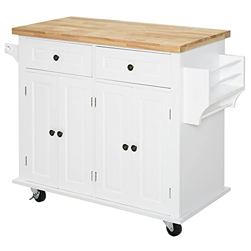 HOMCOM Rolling Kitchen Island Cart with Rubber Wood Top, Spice Rack, Towel Rack & Drawers for Dining Room, White
