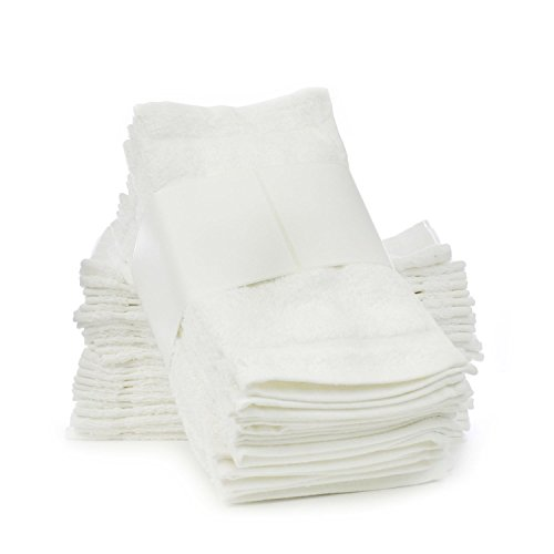 Chakir Turkish Linens Soft Touch Linen Towels, 12 by 12-Inch, Set of 24, White