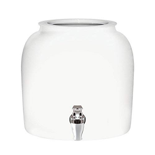 Brio Solid Porcelain Ceramic Water Dispenser Crock with Faucet - LEAD FREE (White)