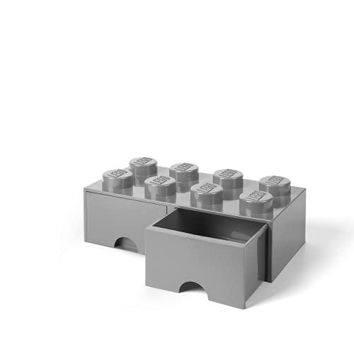 Tiroir en brique LEGO 8 boutons, 2 tiroirs, boîte de rangement empilable, 9.4 l, Gris